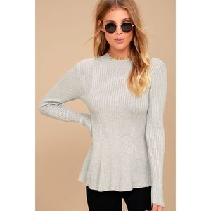 🆕Heather Grey Peplum Sweater Top